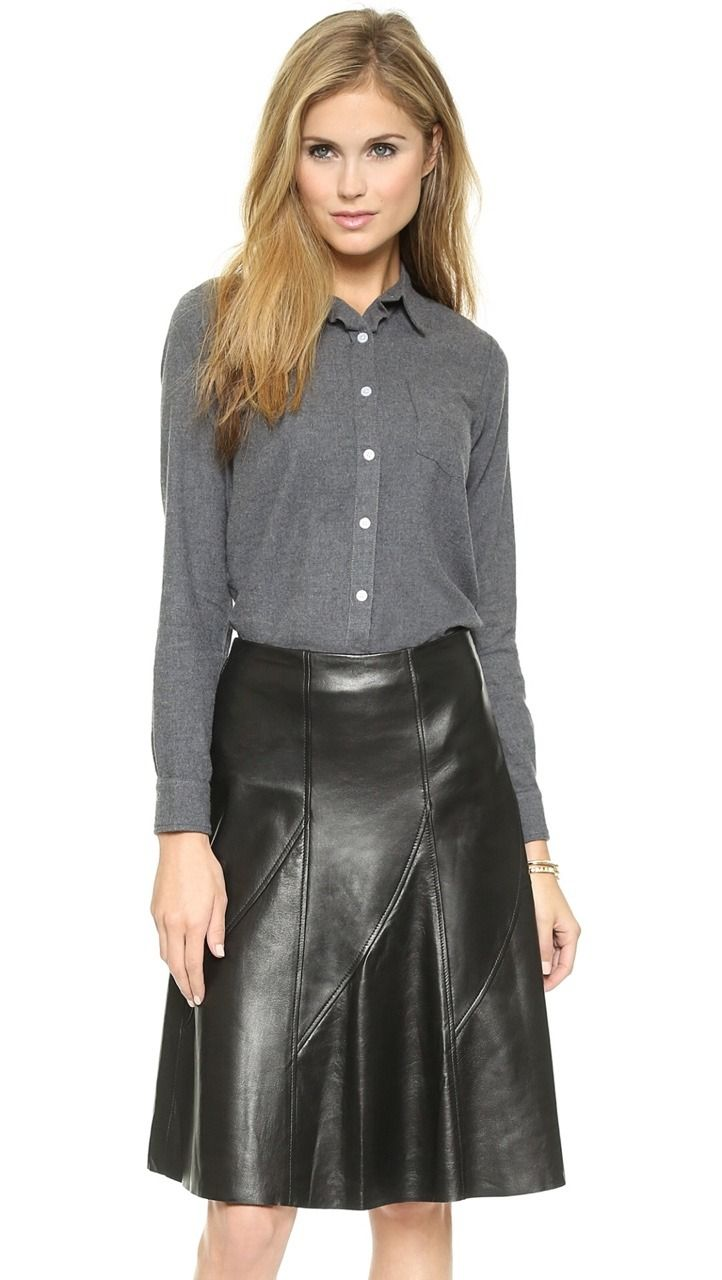 Flared black leather skirt outfit   Leather skirt, Leather skirt ...