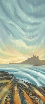 Rebecca Vincent ~ Evening Light, Bamburgh (monotype)