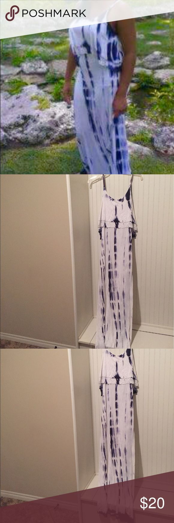 Tie dye maxi dress Comfortable white and navy blue tie dye maxi dress Dresses Maxi