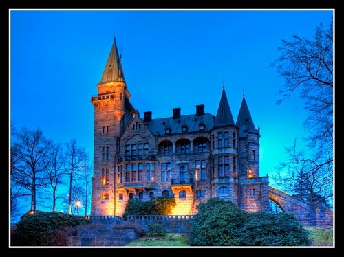 This castle in Vaxjo Sweden was biult by a farmer for his wife! It's beautiful! I miss this place!