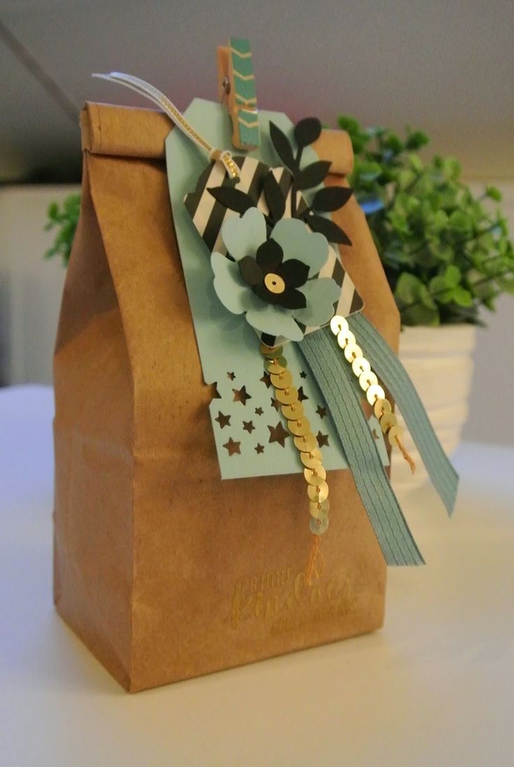 Petite Cafe Gift Bag, Confetti Stars punch Stampin Up by Cards and Scrapping