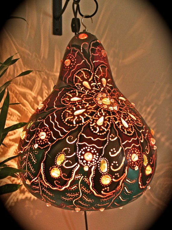 Gourd Lamp Shades Of: Copper Aqua Marine Expresso Red Linen