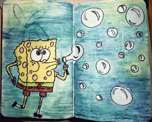 cookie-crush:  Wreck This Journal - Poke holes in this page using a pencil For the first time I've drawn sponge-bob and it wasn't a complete failure :D