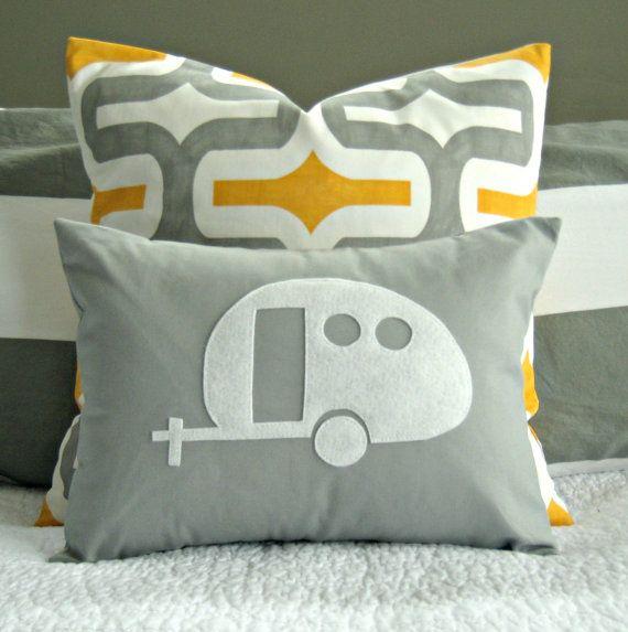 www.vakantieplaats.nl  | Dé vraag- en aanbodsite met alles op vakantiegebied.   Yellow and Grey Vintage Airstream Camper Silhouette Pillow Cover  by nest2impress,