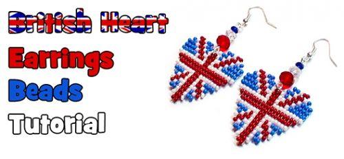 Pendientes en forma de corazón con una bandera británica
