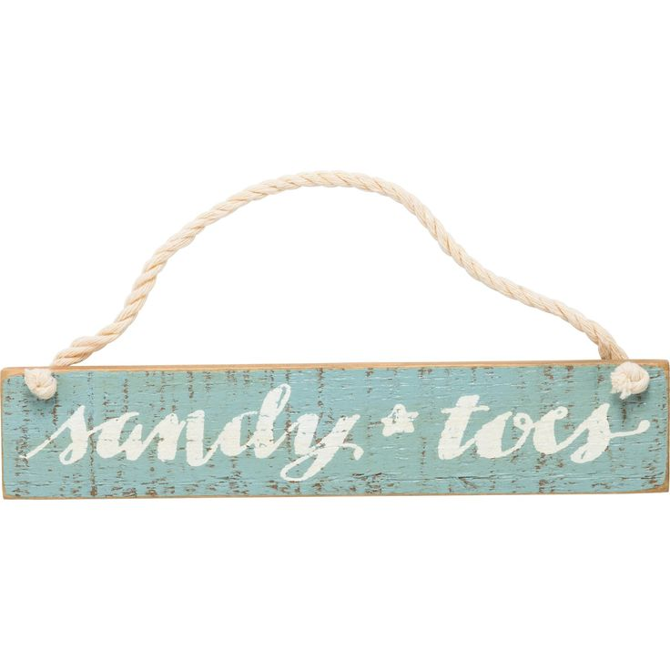 Sandy Toes Wood Sign with Rope Hanger 10-in