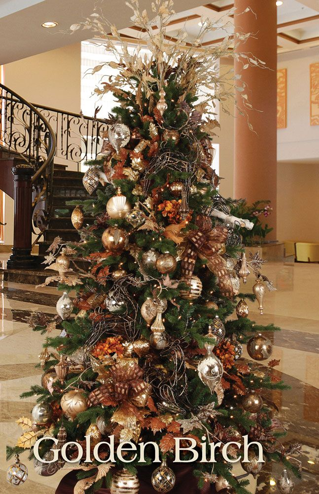 Christmas Tree Decorations Gold And Brown : Best images about christmas trees decor bronze