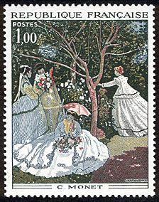 Claude Monet (1840-1926) - Femmes au jardin - Timbre de 1972