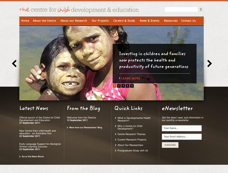 Grey, Brown and Orange Design. The Centre for Child Development & Education Website Design by Captovate, Darwin