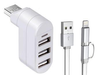 """Sagacious White USB HUB High-Speed USB 2.0 3-Port USB Hub w/ 39.4"""""""""""""""""""""""""""""""" OTG cable"""""""""""""""