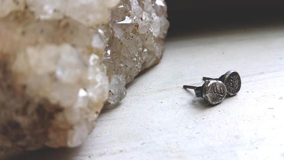 Primitive silver ingot stud earrings recycled sterling posts