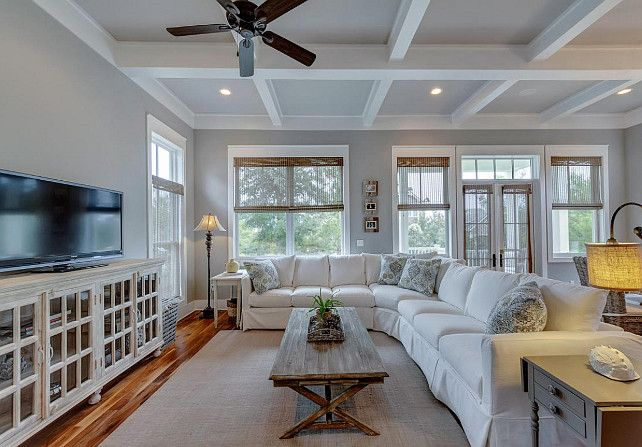 Family Room With White Slipcovered Sectional Sofa Home Sweet In 2018 Pinterest