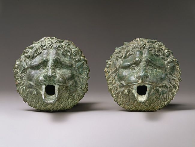 Water spouts in the form of a lion mask, ca. 100 B.C.–100 A.D.; Late Hellenistic or Early Roman Greco-Roman; Said to be from Kourion Bronze