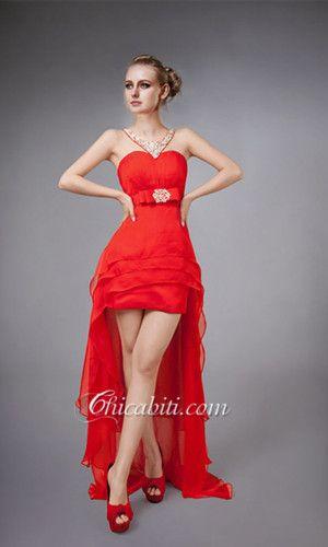 517f85789a75 Vestito rosso corto davanti lungo dietro – Abiti corti