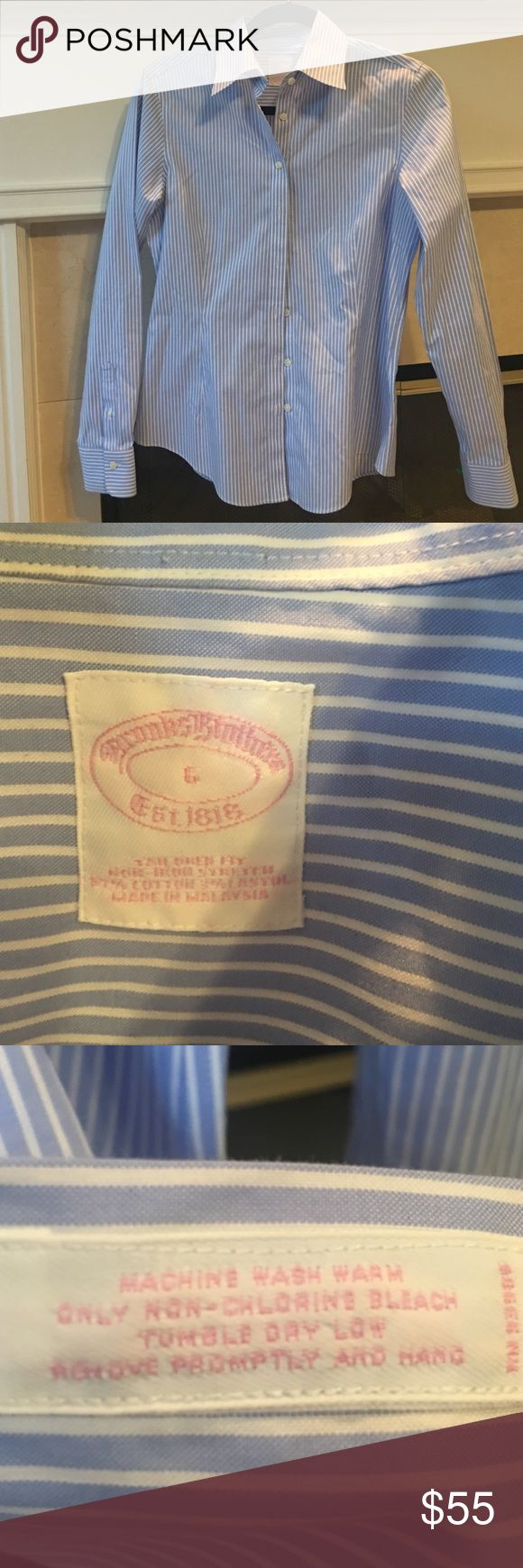 🎉Weekend Sale $10 off Brooks Brothers Shirt Non iron, fitted and stretch Brooks Brothers button down shirt. Great for the office! 97% cotton and 3% lastol. Machine washable. Brooks Brothers Tops Button Down Shirts