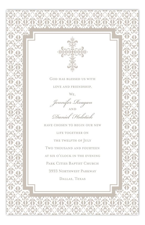 Take a look at our Polka Dot Religous Celebration Invitations and you will find that this Pewter Cross Iron Invitation would be great for your child's first communion or christening. You can use these cross invitations to add a classic look to a baptism as well. Enter the design studio where you can design your own using our sample text or bring your own baptism wording ideas. We've got kids stationery to match your invitation or custom return address labels that will polish it all off.