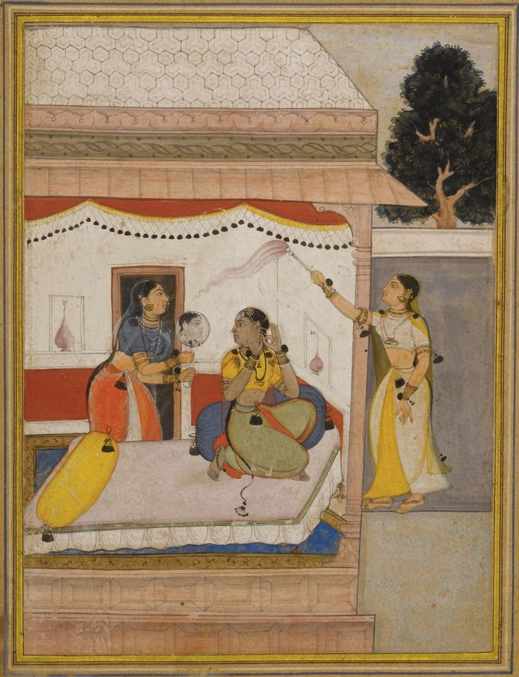 AN ILLUSTRATED PAGE FROM A RAGAMALA SERIES, BILAVAL RAGINI OF RAGA HINDOL, POPULAR MUGHAL, INDIA, EARLY 17TH