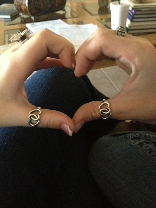 Sister rings. My twin sister and I are about I go off to college and we wanted to keep something to remind us of each other. We purchased James Avery's Linked Hearts rings together.