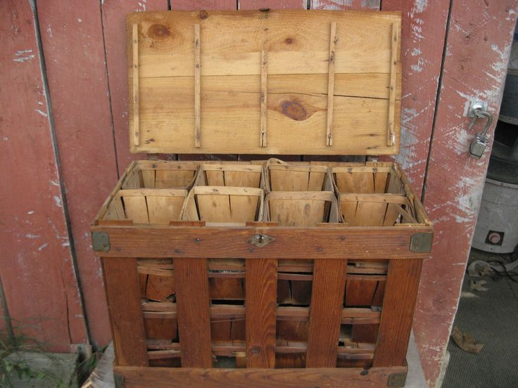 Antique Primitive Wood Strawberry Berry Shipping Crate w/32 Qt Baskets #Americana #Unknown
