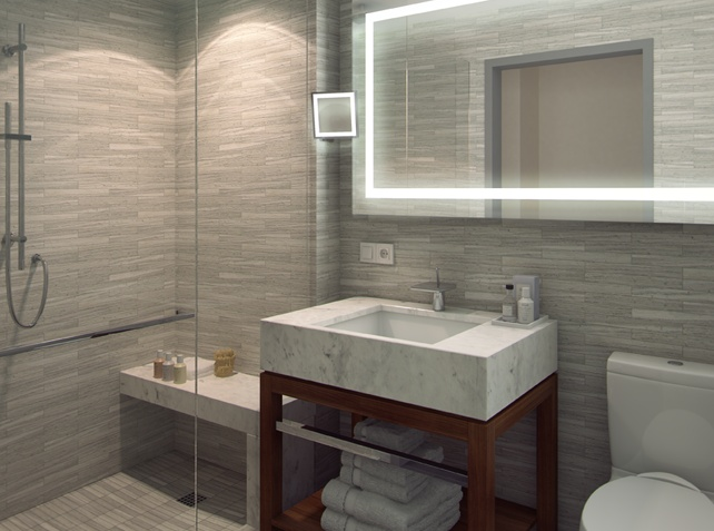 Quin Hotel Official Rendering Of Guest Bath