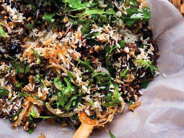 This salad from Yotam Ottolenghi's newest cookbook, Plenty More, has a lot going on and everything going for it. A beautiful mix of grains, crunchy almonds and pine nuts, chewy dried cherries, silky onions, and enlivening arugula, basil and tarragon—every bite is fairly dazzling.