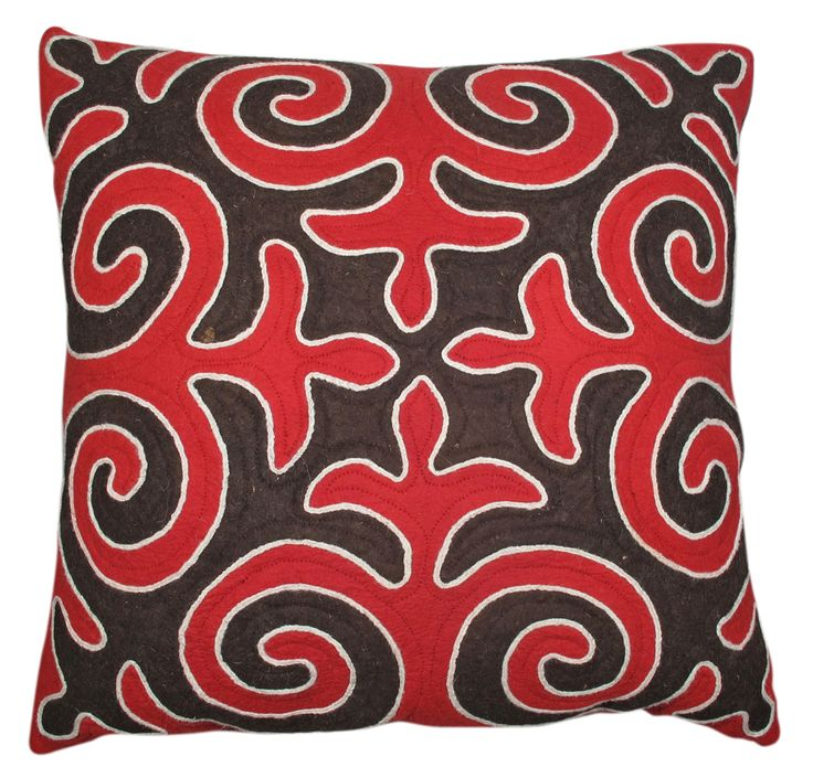 Red and black patterned Shyrdak floor cushion from Felt, made in the mountains of Kyrgyzstan http://feltrugs.co.uk
