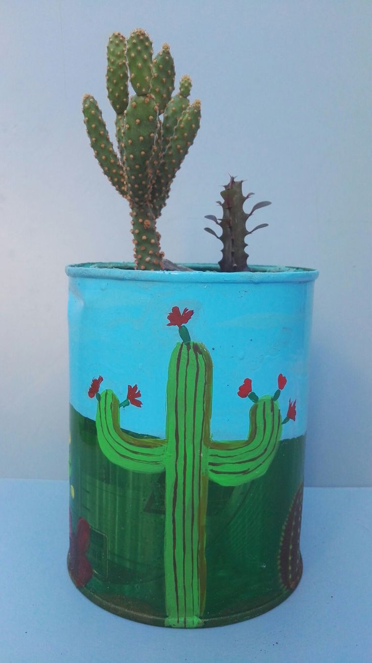 Latas recicladas con imágenes ce Cactus pintadas a mano por Ricardo Stefani