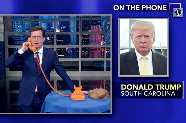 """GOP Moron Donald Trump is not bulletproof: Why his call to Colbert last night should not """"scare"""" the left? Salon.com"""
