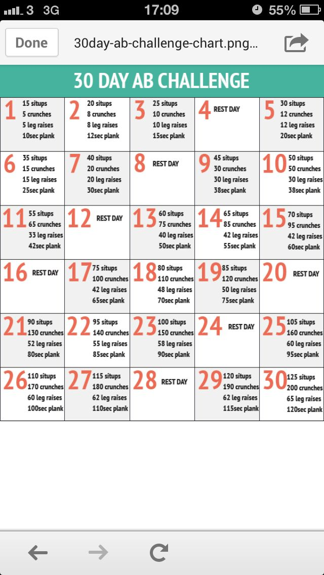 Angie, here is the ab workout. We switched it a little. Instead of sit ups we are doing crunches and in place of the number of crunches listed we are doing backward crunches. Fun, fun! ;) Abs Workout Challenge
