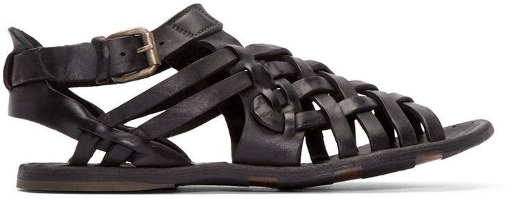 Officine Creative - Black Leather Woven Strap Sandals