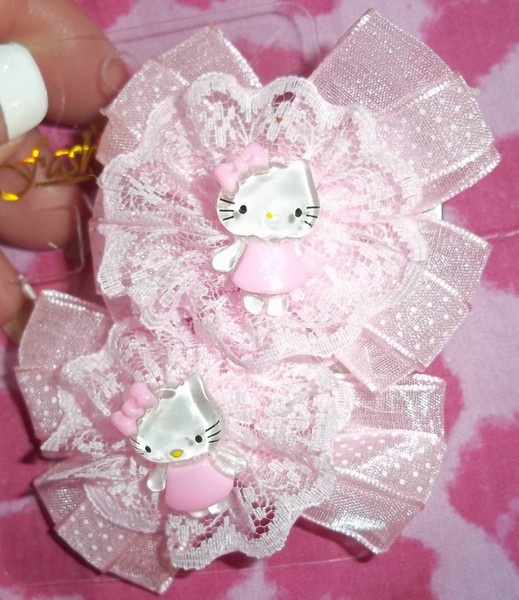NEW SET OF PINK HELLO KITTY HAIR BOWS CLIPS
