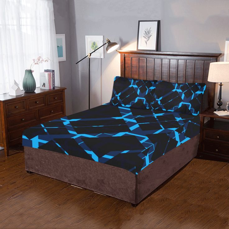 Diagonal Blue & Black Plaid Modern Style 3-Pieces Bedding Set by  Scar Design. #duvet #quilt #beddingset #quiltcover  #bedding #3piecesbedroomset #pillowcases #bed #home #homedecor #modern #artsadd #scardesign #onlineshopping #shopping #family #style #39 #art #design #blue #black #blueplaid #plaid #pattern #gifts #giftsforhim #giftsforher
