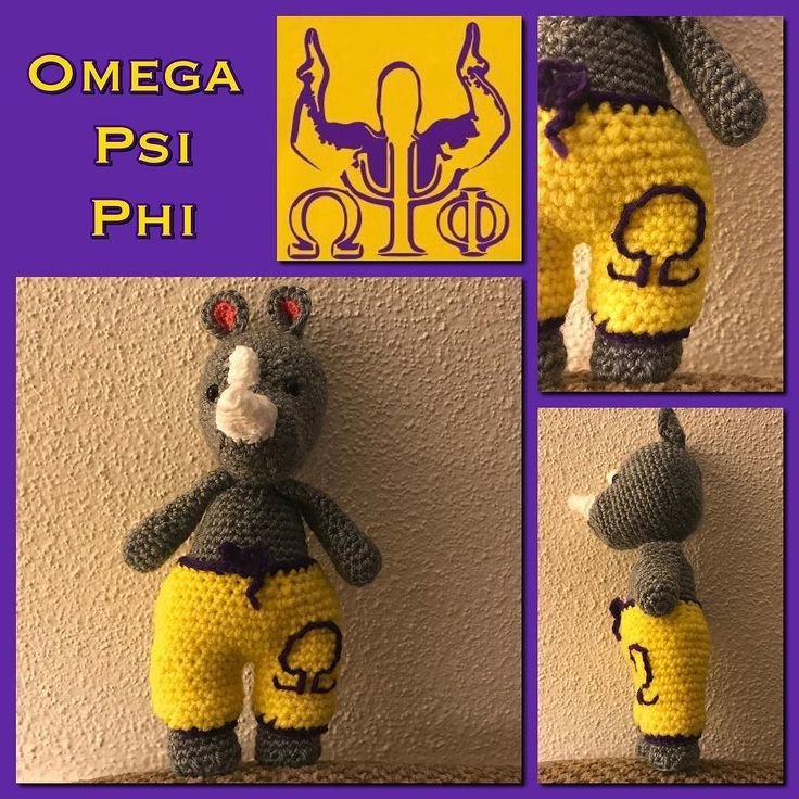 Showing some love  to the Que Dogs  of Omega Psi Phi!!! : : : : : #fraternity #greeklife #rhino #omegapsiphi #omega #purpleandgold #amigurumi #amigurumiaddict #toy #handmade #handcrafted #dollmaker #wildlife #collegelife #jmu #etsyseller #stuffedanimal #embroidery #smallbusiness #quedawgs #brotherhood #makermonday