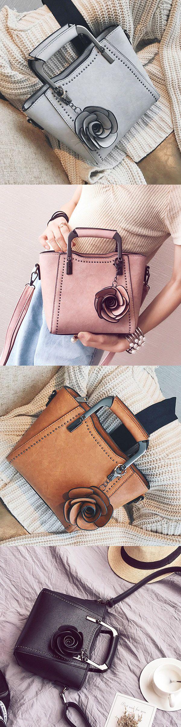 US$26.26 Women PU Leather Retro Rose Tote Bag Crossbody Bag #fashion #style #womensbags #crossbody #handbags