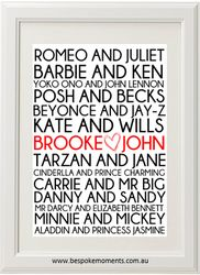 Famous Couples Wedding Print by Bespoke Moments. Worldwide Shipping Available.