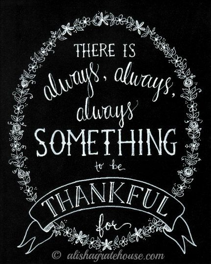 Scripture Chalkboard Art Print - There Is Always Something to Be Thankful For - Hand-Lettered Thanksgiving Print (8x10)