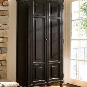 Tall Dark Wood Storage Cabinet