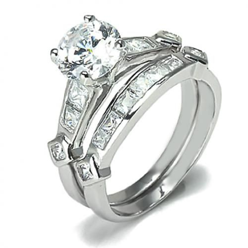 Sterling Silver Round Cut CZ Diamond Engagement Wedding Ring Set 2ct