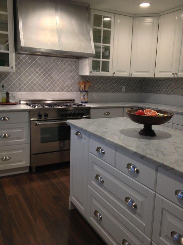 Cabinets Ikea Floor Abk Woodway Noce Countertop Honed Carrara Lights School House Electric