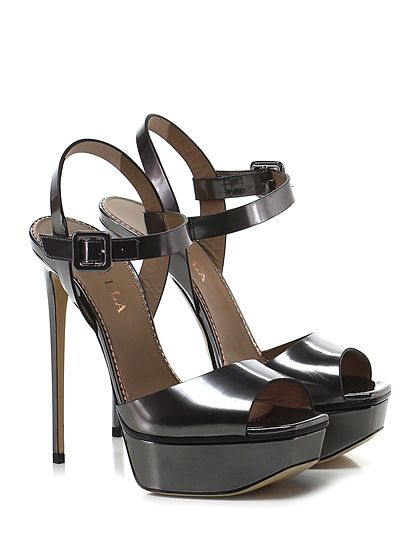 LE SILLA - Sandalo alto - Donna - Sandalo alto in pelle specchiata con cinturino alla caviglia e suola in cuoio. Tacco 145, platform 45 con battuta 100. - PIOMBO - € 572.00