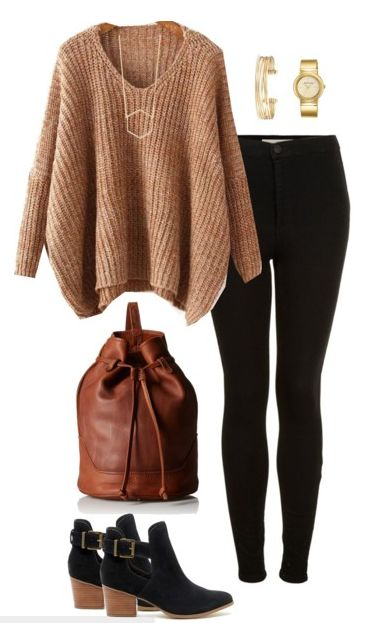 Fall outfit idea - Camel and black are two colors made for each other. Pair your…