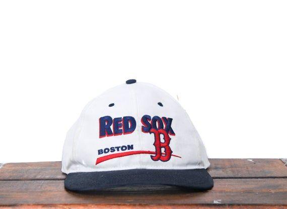vintage 90s distressed boston red sox mlb snapback hat baseball