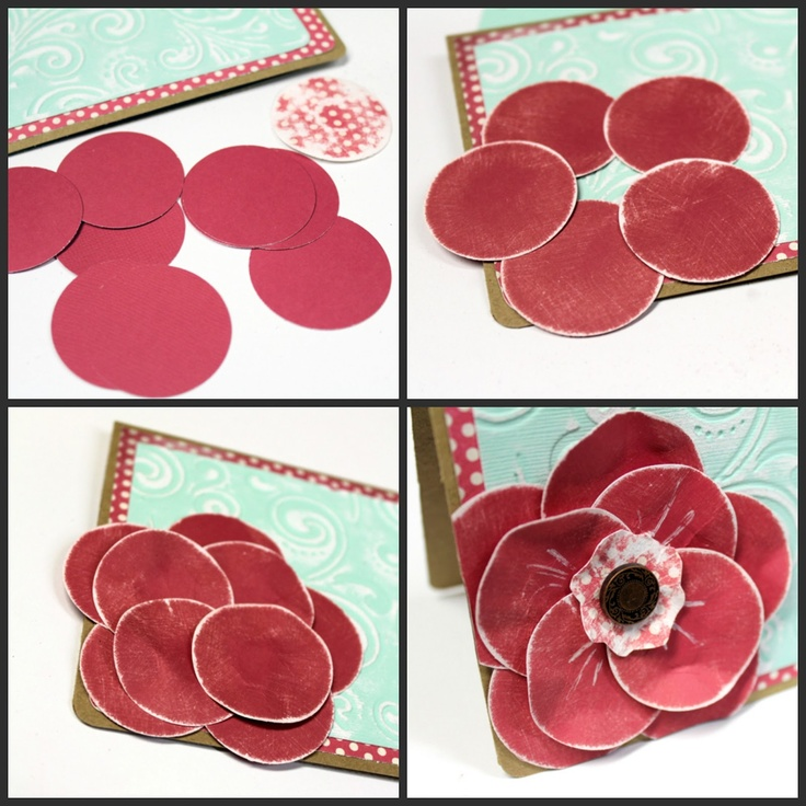 Simple Circle Punch Flower Card Tutorial & Distressing Techniques. #cards #papercrafting #DIY  www.craft-e-corner.com