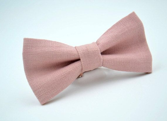 dusty rose linen tie Dusty rose bow tie for wedding groomsmen tie boys bowtie