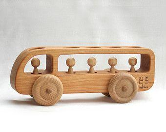 Wooden Toy Tractor Wooden Car Waldorf toy by BERTYandMASHA