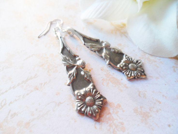 Hanging silver plated spoon earrings with flowers, sterling silver hooks, repurposed vintage jewelry, Scandinavian design, Selma Dreams by SelmaDreams on Etsy