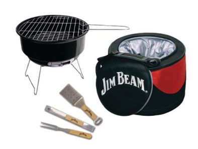 Slap some meat on the fire and crack open a cold one in the untamed splendor of the great outdoors with the Jim Beam 5-piece cooler and grill set! This cooler and grill pack up easy and fit right in the trunk of your car for painless transport to your next outdoor cookout, whether it's a camping trip or the local backyard BBQ.