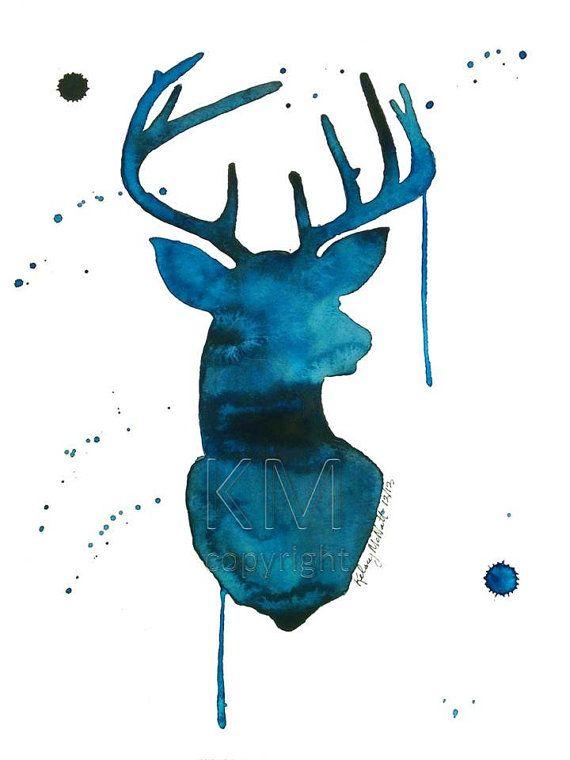 Watercolor Painting Print 'Oh Deer'  Blue and by KelseyMDesigns, $15.00