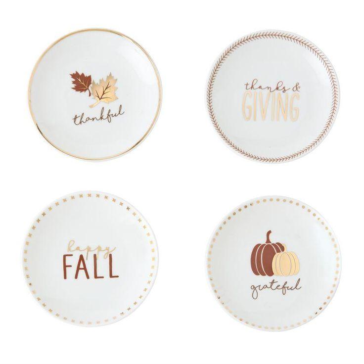 Thanksgiving Graphic Tidbit Plate Set