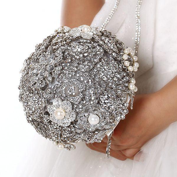 US $159.00ブライダル結婚式のブーケ花嫁介添人手作り高級バラの花のブローチの結婚式の花束水晶のシルク